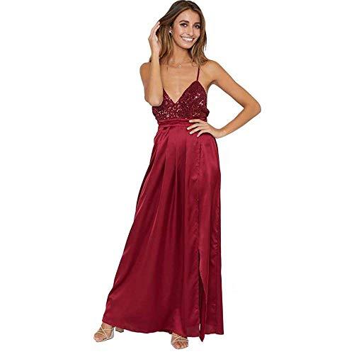 KAIDILA Rote paillettenbesetztes seidig Maxi Partykleid Weihnachten Geschenke Bankett Celebrity Kleid 2018 V Kragen Schlinge asymmetrische Elegante DRE SS Celebrity Abendkleid