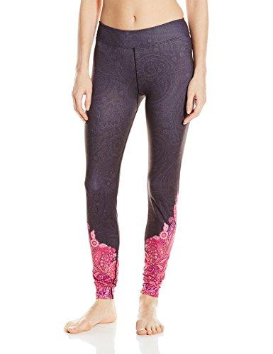SnowAngel Damen-veluxe Power Paisley Leggings, schwarz/hot pink, klein (Hot Pink Pants Snow)