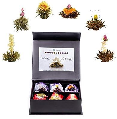 Mix de fleurs de thé blanc et noir en boîte aimantée noble avec gaufrage argenté – 6 thés fleuris Thé blanc et noir (6 sortes différentes de roses de thé)