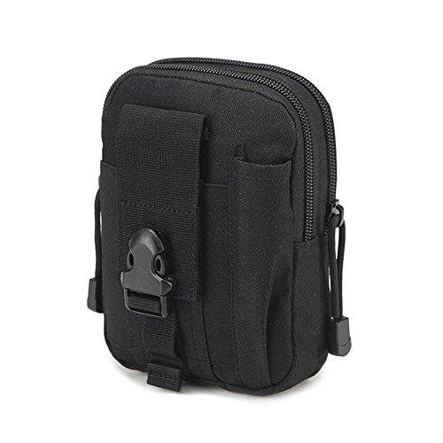 QEES Herren Hüfttasche Taillenbeutel Sporttasche Militärisch für Camping Jogging für Kleine Dinge wie Handy Schlüssel HYYB01-Schwarz