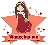 Samunshi® Prinzessin Aufkleber mit Namen Autoaufkleber Namensaufkleber Kinder in 7 Größen (30x26cm Mehrfarbig)