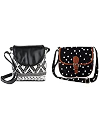 Lychee Bags Emma And Myra Sling Bag (CMB2-LBHBCP14ATB-LBHBCP19PO, Canvas, Black)