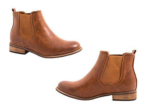 Elara Damen Chelsea Boots | Bequeme Flache Stiefel | Lederoptik Stiefeletten Camel Lyon