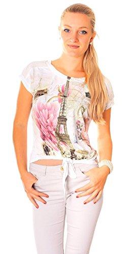 Easy Young Fashion Damen T-Shirt Crop Top bauchfrei zum knoten mit Aufdruck One Size Model 5