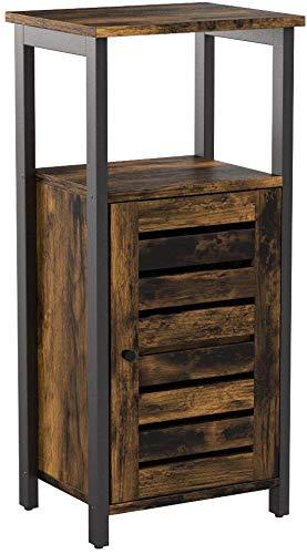 VASAGLE Beistellschrank, Nachtschrank, Seitenschrank, stabil, Nachtkommode mit 2 offenen Ablagen, Nachttisch im Industrie-Design, Wohnzimmer, Schlafzimmer, Flur, Vintage LSC34BX