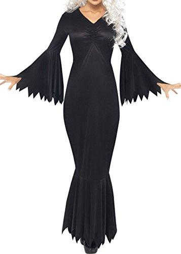 Kleid Schwarzer Zigeuner (Frauen-Halloween-Party-Zigeuner-Boho-Kleid-lange Aufflackern-Hülse gepaßte Renaissance-abgestufte)
