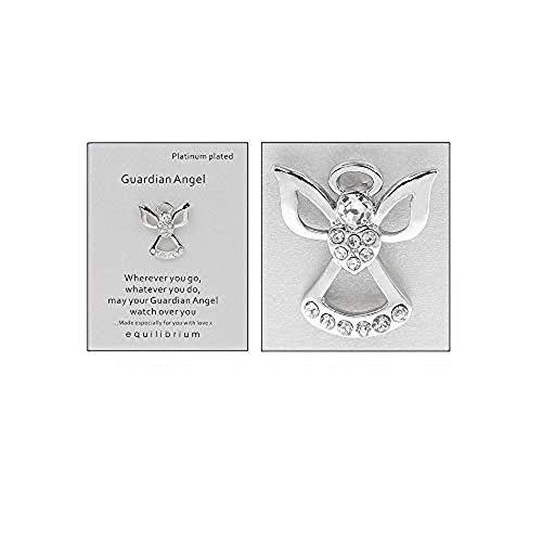 Equilibrium Schutzengel Brosche Pin, besondere Nachricht Worte, platiniert (Schutzengel-pin)
