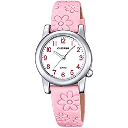 Calypso Children's Watch Elegant Analogue Leather Strap Watch Quartz Dial White Pink UK5710/2