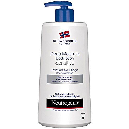Neutrogena Norwegische Formel Deep Moisture Bodylotion Sensitive - Parfümfreie Pflege (3 x 400 ml)