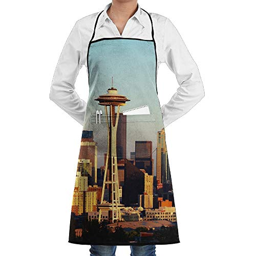 America Seattle State City Schürze Lace Adult Mens Womens Chef Adjustable Polyester Long Full Black Cooking Kitchen Schürzes Bib With Pockets For Restaurant Baking Crafting Gardening BBQ Grill (Kostüm Seattle)