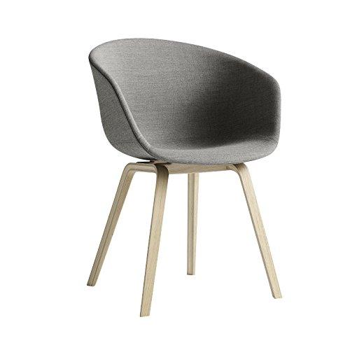 HAY About a Chair 23 Armlehnstuhl gepolstert, grau Stoff Remix 133 59x79x52cm Standardgleiter Kunststoff Gestell Eiche geseift - Esche Gepolstert Stuhl