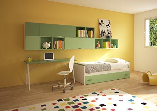 Giessegi job cameretta per ragazzi con letti e scrivania, legno, betulla/salvia/giada, 360 x 100 x 170 cm
