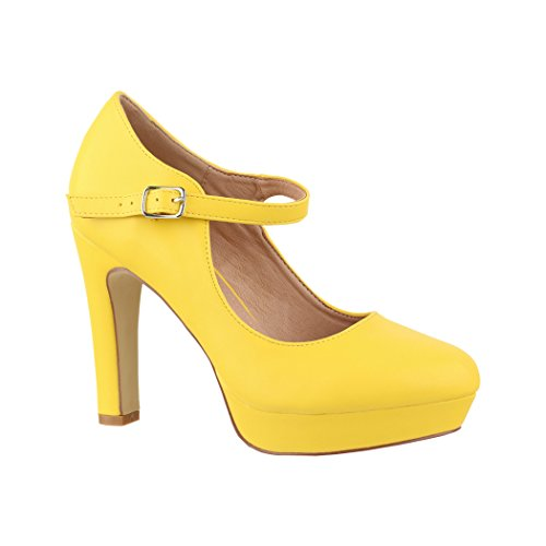 Elara Damen High Heels | Bequeme Spangen Pumps | Riemchen Vintage | Chunkyrayan | E22320 Yellow-39