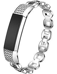 YaFex Fitbit Alta HR Edelstahl Armband Fitness Ersatz Armband Sport Uhrenarmband Verstellbar Armband Smart Wristband mit Strass für Fitbia Alta HR und Alta AM0117