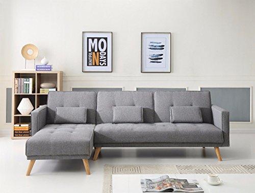 Makpon angolo divano letto divano letto moderno tessuto 3posti click clack divano a forma di l (grigio)