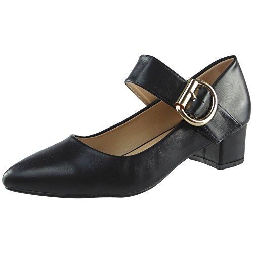 Da donna Mary Janes Basso Metà Tacco Indicato Scarpe da punta Dimensione 36-41 Nero PU