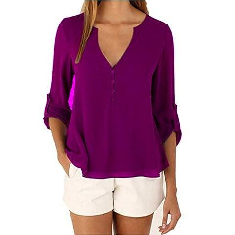 Damen Chiffon Hemd Casual Lose Einfarbig V-Ausschnitt Blusen 3/4-Arm T-shirt Tops (M, Lila)