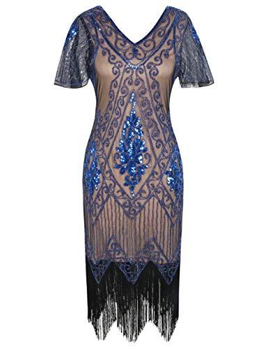 PrettyGuide Damen 1920er Charleston Kleid Pailetten Cocktail Flapper Kleid Mit Ärmel S Beige Blau
