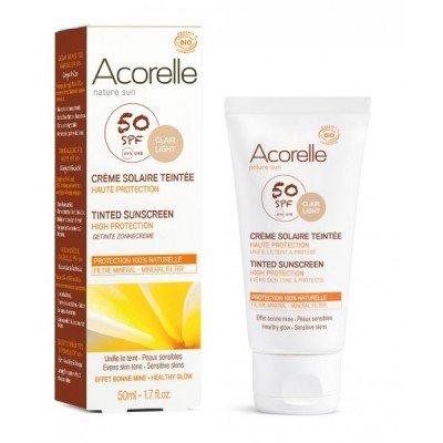 ACORELLE - Crema Solare Colorata Viso - Clair Light SPF50 - Filtri Minerali - Protegge, Unifica e Illumina - Texture Effetto Seta - 50 ml