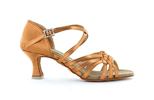 Dancin Scarpa da Ballo Donna 6 Fasce con Motivo A Intreccio in Raso Flesh TC 5,5 cm Flesh