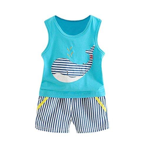 Babybekleidung,Resplend Kleinkind Baby Ärmellos T-Shirt 2 Stück Bekleidungssets Wal Weste + Streifen Shorts Outfits Kleidung Set (Blau, 12M) - 12mo Einem Stück