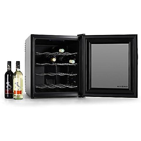 Klarstein Vinoteca nevera minibar especial para vinos con puerta de cristal translúcida (Elegante control táctil, 4 baldas cromadas, iluminación interior LED azul, capacidad 48 litros - 16 botellas)