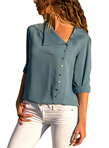 FIYOTE Womens Solid Long Sleeve Button Detail Shirts Loose Fit Chiffon Blouses and Tops