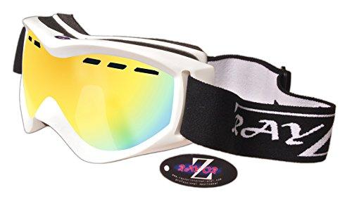 Rayzor professionnels UV400 doubles lensed ski / snowboard Lunettes, avec un cadre blanc et un anti brouillard Or Iridium Ventilé miroir anti-éblouissement large clarté de vision Lens.