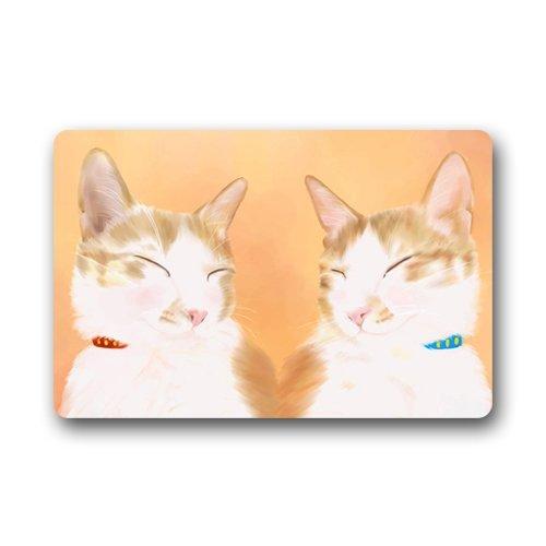 nd süß Cartoon Art Deco Malerei Katze Miezekatze Mew Pussy Mog Hand zeichnen einzigartige Rutschfeste Matten Fußmatte ()
