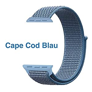Nylon Armband für Apple Watch in Cape Cod Blau 42/44mm passend für Apple Watch 1 2 3 4 5