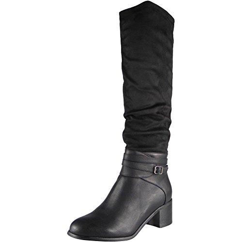 Dames Boucle Sangle Longue Zip Milieu Talon Au genou Bottes Taille 36-41 Noir