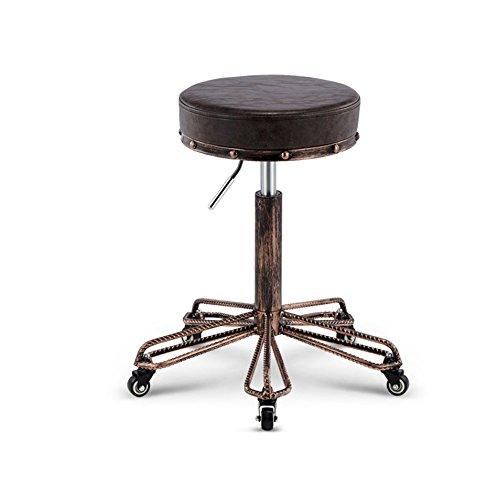 High stool-Q QFF Vintage Barhocker, Continental PU Hocker Friseurhocker Beauty Hocker Iron Art Dekorative Hocker Barhocker Lift Hocker Drehhocker Dining Hocker Sitz 34CM Cool (Farbe : B) -