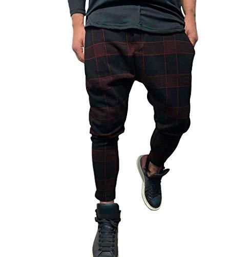 Tomatoa-Herren hosen Kariert Jogginghose Sporthose Freizeit Hose Streetwear Fitness-Hosen für Herren Lang Pants Sporthosen Trainingshose Sweatpants M bis XXXL