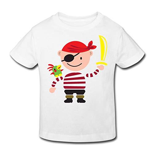 (Spreadshirt Pirat mit Papagei Kinder Bio-T-Shirt, 110/116 (5-6 Jahre), Weiß)