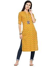 Varanga Yellow Cotton Printed Kurta KFF-VARSS17145