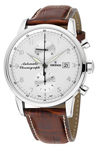 KRONOS - Pilot Automatic Chronograph Silver 873N.35 - Reloj de Caballero automático, Correa de Piel...