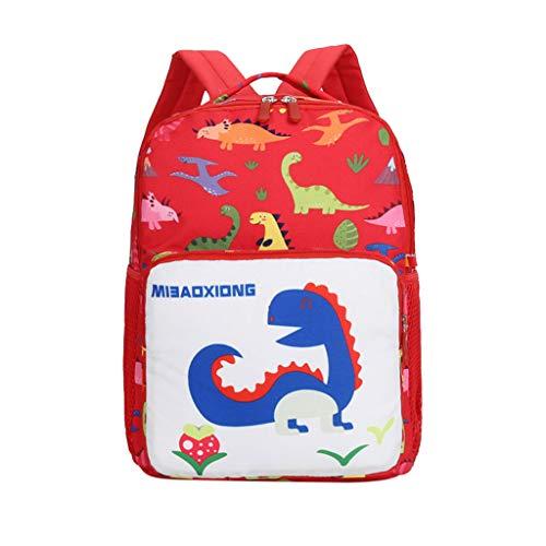 Dinosaurier Muster Cartoon Rucksack,TTLOVE Baby Jungen MäDchen Kinder Schule Tasche Kleinkind Schultaschen Buch Mit Seitentaschen,21X25X8Cm(rot,20x11x5 cm) -