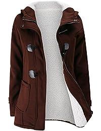 BYD Femmes Manteaux à Capuche Bouton Corne Blouson Veste Jacket Manches Longues Chaud Épais Hoodie Hoody Outwear Automne Hiver Slim Fit