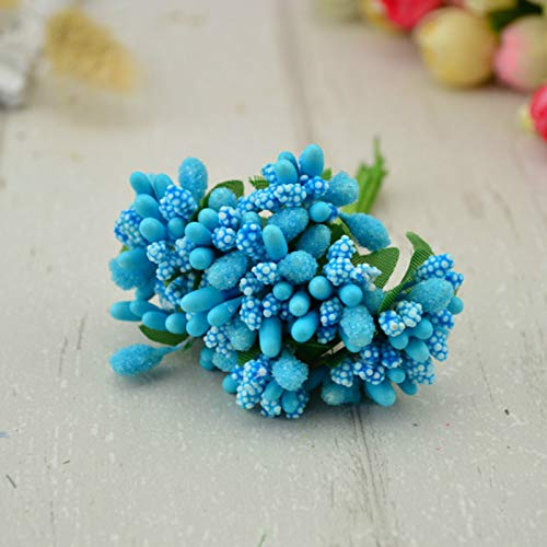 OneMoreT 12 Bündel von Blumen (144 Stück) Stamen Zucker handgefertigte künstliche Blumen Billig Hochzeit Dekoration DIY Kranz Handarbeit Geschenk-Box Scrapbooking Kunstblume tiffany blue