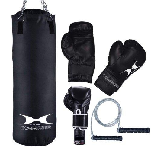 Hammer 92077 Rocket XI - Juego de saco de boxeo y accesorios, color gris y negro