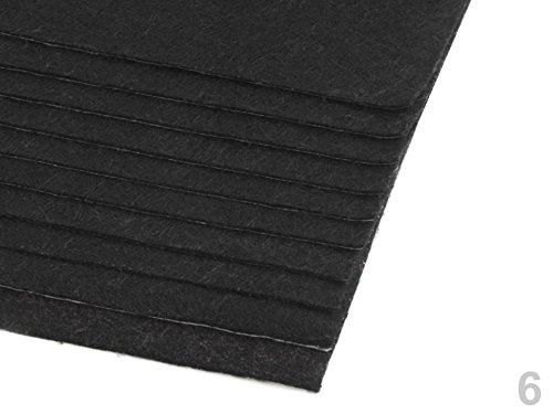 Preisvergleich Produktbild Dekorativer Bastelfilz selbstklebend ca. 20x30cm DIN A4 - 180g/qm - Stärke 1-1,5mm - 10 Bögen - Farben wählbar (schwarz)