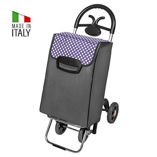 Einkaufstrolley Mierea grau-lila mit 60L für Einkäufe oder Getränke-Kisten - Großer Transport-Wagen Trolley mit 4 leisen Gummi Rädern - Einkaufsroller bis 35kg belastbar