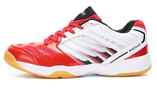 TQGOLD Scarpe da Badminton Scarpe da Squash Scarpe da Pallamano Scarpe da pallavolo Scarpe da Tennis Scarpe Indoor Multisport Uomo Donna Rosso 39