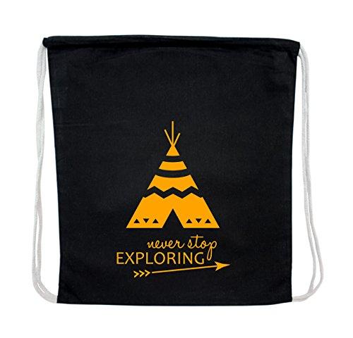 Turnbeutel Rucksack never stop exploring mit Tipi, 100% Baumwolle schwarz, 32cm x 43cm, Indianer Zelt Tasche Beutel, Farbe:Gelb