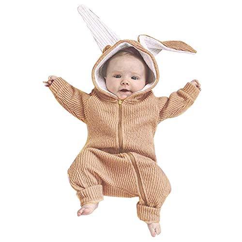Kleidung, Infant Baby Jungen Mädchen Langarm Hasenohren Strampler Overall Outfits Kleidung Weihnachten (6-12M(80), Khaki) ()