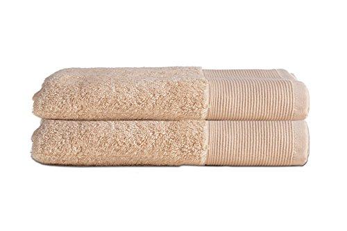 Saugfähiges Frottiertücher, 60% Bambus & 40% Baumwolle, Marlborough Collection von Allure Bath Fashions, 2 x Schnell trocknendes Badetücher-Set, 70 x 125 cm, 550 gsm in sandfarben, Handtuch-Set (2x Badetücher)