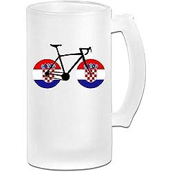 Fahrrad Kroatien Flagge Milchglas Stein Bierkrug, Pub Becher, Getränkebecher, Geschenk für Biertrinker, 500 ml (16,9 Unzen)