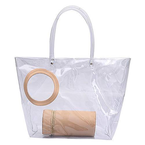 Sccarlettly Transparente Gelee Beutel Süßigkeit Der Casual Chic Frauen Färben Gesteppte Ketten Bügel Klare Handtaschen Transparente Tote Geldbeutel Für Frauen (Color : Khaki, Size : One Size) -