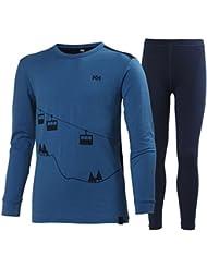 Helly Hansen Jr Hh Wool Set - Set prendas interiores con camiseta y mallas para niños, color azul, talla 152/12