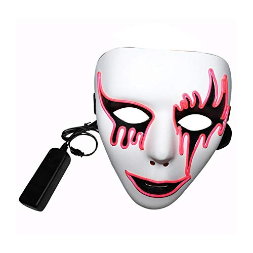 song rong Halloween-Maske Kühle Spooky Party Ghost Cosplay Schablone LED leuchtende Rosa C-Art-1-Pack Akku-Maske Nicht inbegriffen